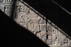 De Tempel van Luxor, Hiërogliefen. Licht en Schaduw Stock Foto