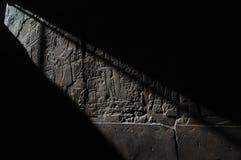De Tempel van Luxor, Hiërogliefen. Licht en Schaduw Stock Afbeelding