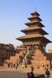 De Tempel van Nyatapola, het Vierkant van Bhaktapur Durbar, Nepal Royalty-vrije Stock Foto's