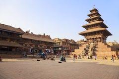 De Tempel van Nyatapola, het Vierkant van Bhaktapur Durbar, Nepal Royalty-vrije Stock Afbeelding