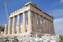 De tempel van Parthenon in Athene Stock Foto's