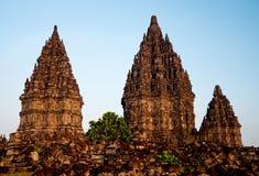 De tempel van Prambanan in yogyakarta Java Indonesië stock fotografie