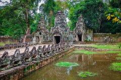 De tempel van Preahkhan, Angkor-gebied, Siem oogst, Kambodja Stock Foto's