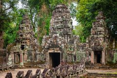 De tempel van Preahkhan, Angkor-gebied, Siem oogst, Kambodja Royalty-vrije Stock Foto