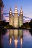 De Tempel van Salt Lake bij schemering Royalty-vrije Stock Afbeelding
