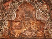 De tempel van Srei van Banteay dichtbij Angkor Wat, Kambodja. Stock Afbeeldingen