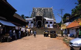 De tempel van Sripadmanabhaswamy, Thiruvananthapuram, Kerala, India royalty-vrije stock foto