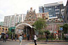 De Tempel van Sriveeramakaliamman, Weinig India, Singapore Stock Foto