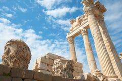 De tempel van Trajan in Pergamon Turkije Stock Afbeelding