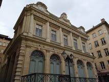 De Tempel van Verandering, vroeger voor de beurs van Lyon wordt gebruikt, bevindt zich in Oud Lyon, Frankrijk dat royalty-vrije stock foto's