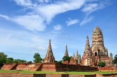 De tempel van Wat chaiwattanaram en blauwe hemel Stock Afbeelding