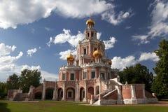 Rusland. Moskou. De kerk van de Interventie van de Moeder van God Stock Afbeeldingen