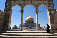 De tempel zet en Koepel van de Rots in Jeruzalem Israël op Royalty-vrije Stock Foto's