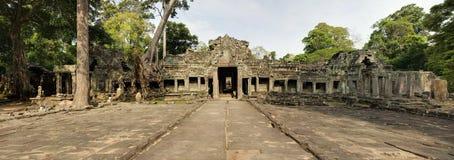De Tempelingang van Preahkahn en Gang, Angkor Wat Stock Afbeelding