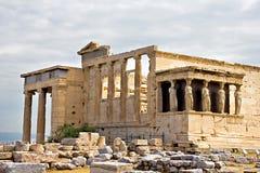 De tempelruïnes van Erechtheum bij Akropolis Stock Fotografie