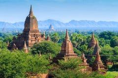 De Tempels van bagan bij zonsopgang, Bagan, Myanmar Stock Foto's