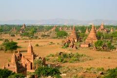 De tempels van Bagan bij zonsopgang, Myanmar (Birma). Stock Afbeelding