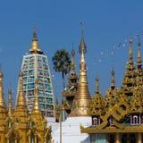 De Tempels van de Shwedagonpagode - Yangon - Myanmar (Birma) Royalty-vrije Stock Fotografie
