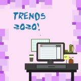 De Tendensen 2020 van de handschrifttekst Concept die algemene richting betekenen waarin iets ontwikkelt of foto van verandert stock illustratie