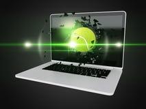 De tennisbal vernietigt laptop Royalty-vrije Stock Foto's