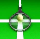 De tennisracket en de tennisbal worden gevestigd op de tennisbaan Royalty-vrije Stock Foto