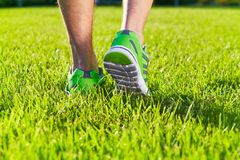 De tennisschoenen van sportenschoenen op een vers groen grasgebied stock afbeeldingen