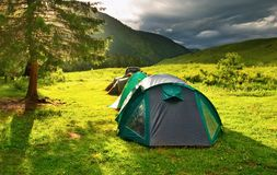 De tenten van de toerist stock afbeelding