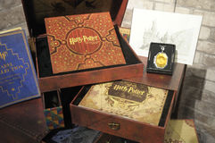 De tentoongestelde voorwerpen van Harry Porter collectibles stock foto's