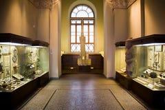 De tentoongestelde voorwerpen van het museum van oude overblijfselen in glasgevallen Stock Afbeelding