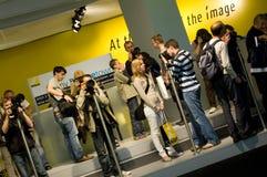 De tentoonstellingsapparatuur van Nikon mensen Stock Foto