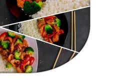 de de teriyakikip en broccoli bewegen gebraden gerecht met rijstcollage van verschillende beelden stock afbeelding