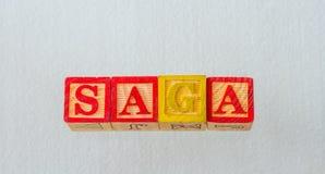 De term visueel getoonde saga stock fotografie