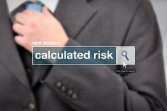 De termijn van de de barverklarende woordenlijst van het Webonderzoek - berekend risico stock fotografie