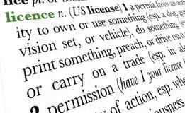 De termijn van het het woordwoordenboek van de vergunning stock foto's