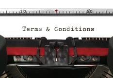 De Termijnen & de Voorwaarden van de schrijfmachine Stock Fotografie