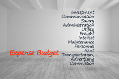 De termijnen van de uitgavenbegroting in heldere ruimte worden geschreven die Royalty-vrije Stock Foto