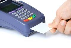 De terminal met een zuivere creditcard stock afbeelding