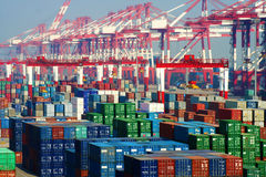 De terminal van de de havencontainer van China Qingdao Royalty-vrije Stock Afbeelding
