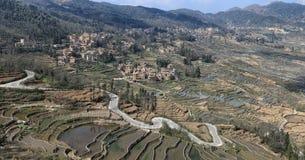 De terrassen van de YuanYangrijst in Yunnan, China, één van de recentste Unesco-Plaatsen van de Werelderfenis stock afbeeldingen