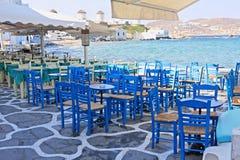 De Terrassen van Mykonos Royalty-vrije Stock Fotografie