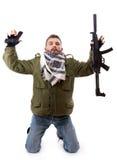 De terrorist geeft zich op stock afbeeldingen