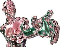 De teruggegeven mens in rood zilveren-chr-verzilvert vector illustratie