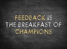 De terugkoppeling is het ontbijt van kampioenen stock afbeelding