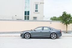 De testaandrijving van Audi S8 in Hong Kong Stock Afbeeldingen