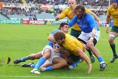 De testgelijke 2010 van het rugby: Italië versus Australië Stock Fotografie