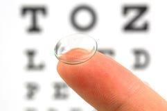 De testgrafiek van de contactlens en van het oog Stock Afbeeldingen