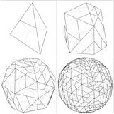 De tetraedro a la bola la esfera alinea vector Imagen de archivo