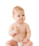 De tevreden baby beduimelt omhoog haar geïsoleerder vinger Stock Foto's