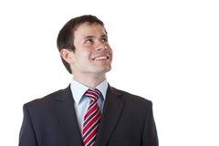 De tevreden zakenman onderzoekt zekere toekomst royalty-vrije stock afbeeldingen