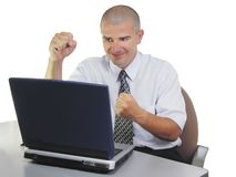 De tevredenheid van de computer Stock Foto's